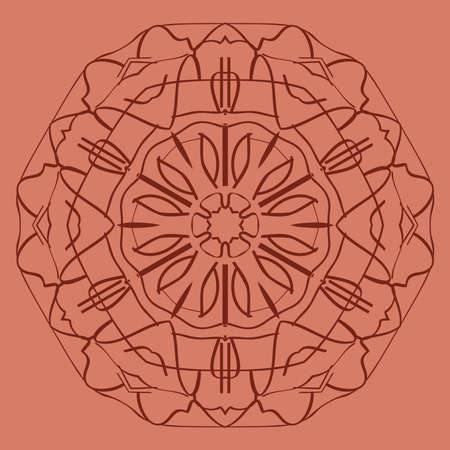 bright orange background with mandala ornament. vector illustration. Illustration