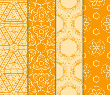 set of geometric ornament. seamless pattern. vector illustration. orange color