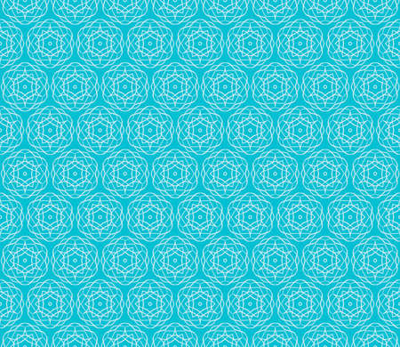 Blue seamless illustration with intricate sketches of geometric shapes.