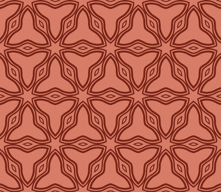 Decorative abstract seamless background, geometric floral pattern. brown color