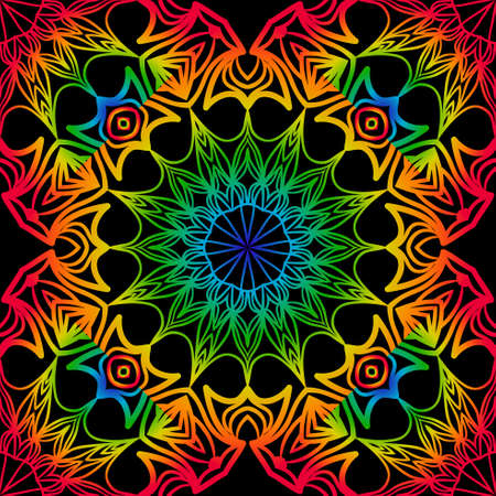 Seamless background with modern design. Floral mandala ornament. black, rainbow color. vector. design element for print, fabric, wallpaper
