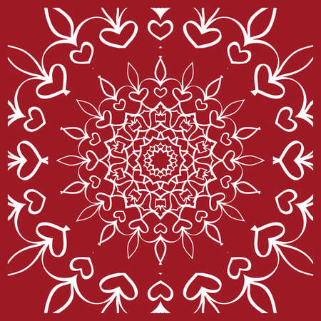 Pattern from Mandala for the Print Textile Product. Vector illustration. Decorative curb treatment. Red color Illustration