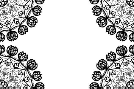 Creative invitation card with mandala elements border. black and white color. for greeting card, wedding invitation, yoga flyer. vector Stok Fotoğraf - 98486212