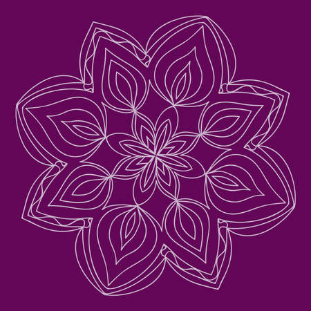 Purple ethnic pattern, mandala ornament. Lacy flower snowflake vector illustration. Illustration