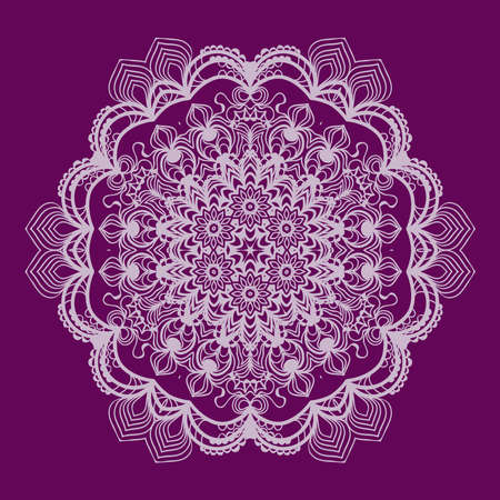 Purple round ethnic pattern, mandala ornament. Lacy flower snowflake vector illustration.