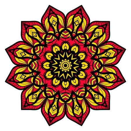 yellow, red, black color flower mandala round ornament design for greeting card, invitation, tattoo. Vector illustration Ilustracja
