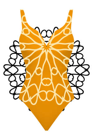 design swimsuit with mandala ornament. fashion vector illustration. orange color
