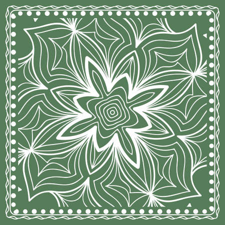 Design of a Scarf with a Geometric Flower Pattern of Mandala. Vector illustration. Green color.