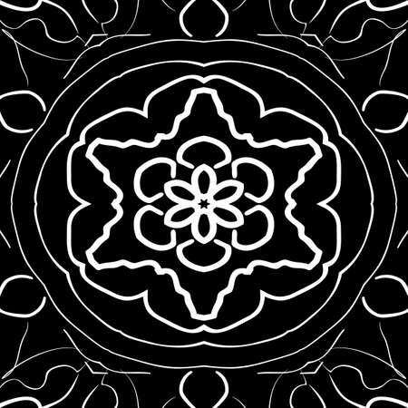 Oriental floral pattern vector illustration, hand drawn kaleidoscope background.