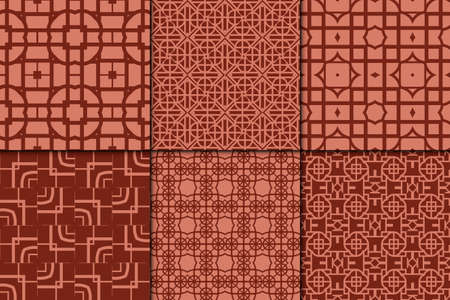 Set of 6 geometric pattern. vector illustration. Brick color.