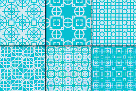 Set of 6 Seamless pattern based on the circle, triangles, rhombus. Vector illustration for the interior design, wallpaper, textiles, presentations, images illusions. Sea color theme.
