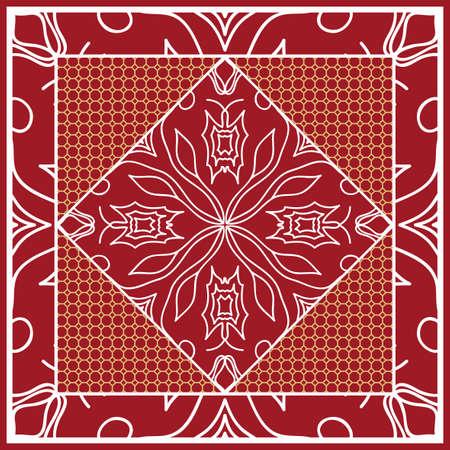 Design of Scarf with Mandala Flower Pattern Vector illustration.
