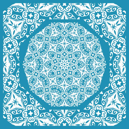 Floral paisley medallion ornamental rug. Ethnic mandala frame for fabric, greeting card, coloring book, phone case print vector illustration in blue color. Иллюстрация