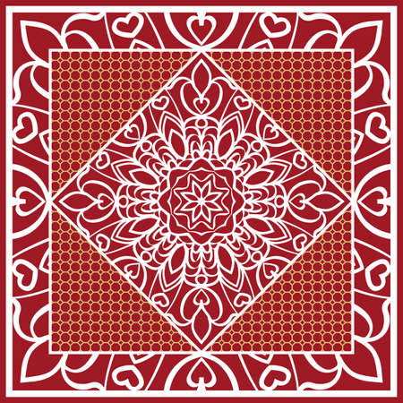 Design of Scarf with Mandala Flower Pattern. Vector illustration. Red color. For Print Bandana, Shawl, Carpet Vettoriali