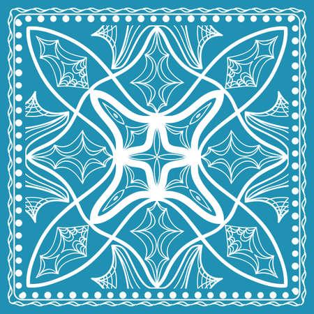 Design of the Silk Shawl Print with Geometric Flower Pattern. Vector illustration. Illustration