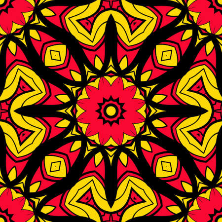 sun color seamless pattern with mandala ornament. vector illustration