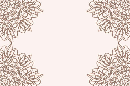 Vintage background with floral mandala ornament in coffee color. Vector illustration for greeting, invitation card.