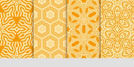 set of 4 orange color fashion geometric seamless pattern. vector illustration.