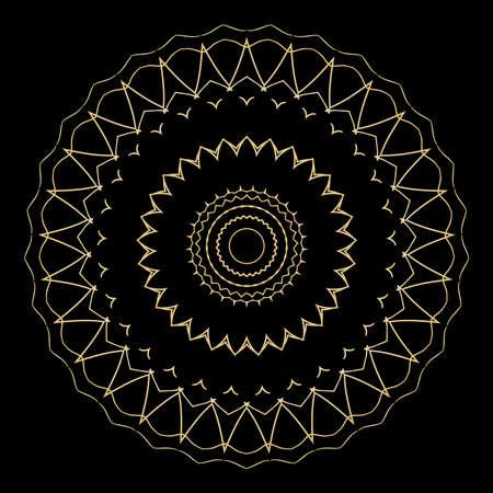 black background with gold color mandala ornament. vector illustration.