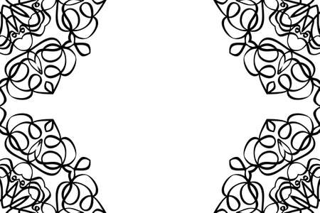 creative invitation card with mandala elements border. black and white color. for greeting card, wedding invitation, yoga flyer. Çizim