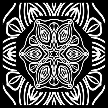 Design print for kerchief. The pattern of the mandala. Vector illustration. 矢量图像