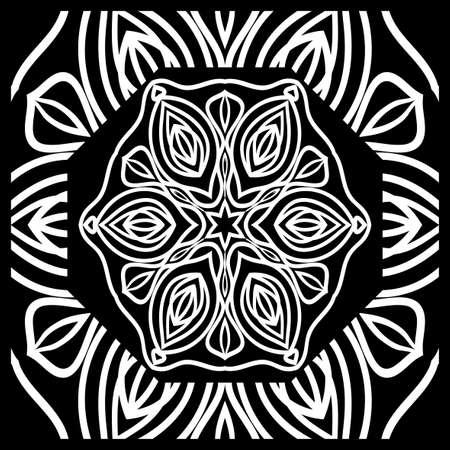 Design print for kerchief. The pattern of the mandala. Vector illustration. Vettoriali