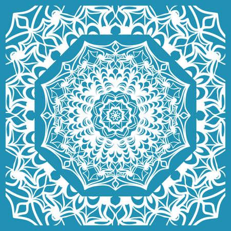 Floral Paisley Medallion Ornamental Rug. Ethnic Mandala Frame. Vector illustration. Blue color Фото со стока - 98128773