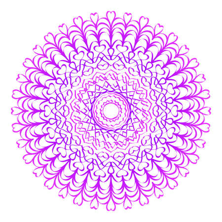 Floral Mandala. Vector illustration. Ethnic Circle Ornament. Purple color.