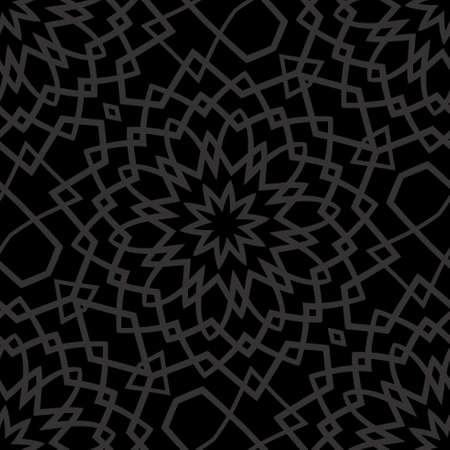 Dark monochrome seamless background with decorative ornament . vector illustration  イラスト・ベクター素材