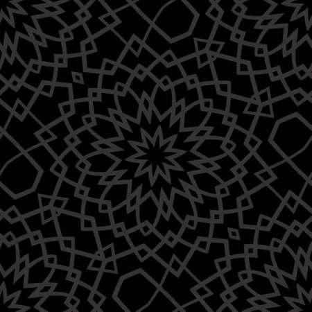 Dark monochrome seamless background with decorative ornament . vector illustration Illustration