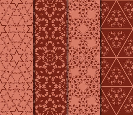 Set of 4 geometric pattern of intersecting wavy and curved lines. vector illustration. brick color Illustration
