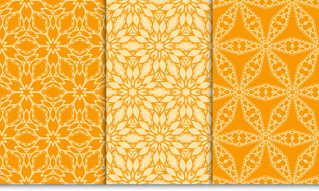 set of Modern abstract geometric pattern. vector illustration. for invitation, wallpaper. orange color