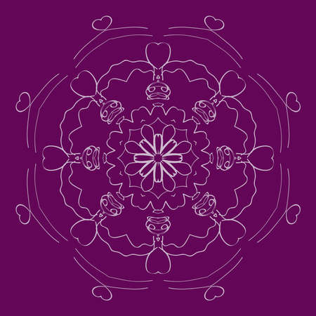 Background with mandala ornament. Vector illustration in purple color. Ilustração