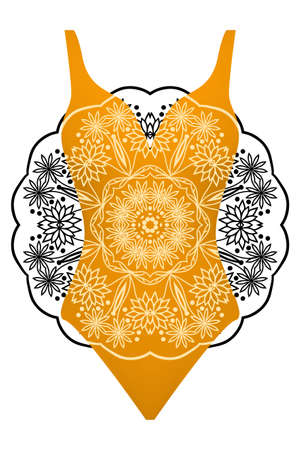 Design swimsuit with mandala ornament. Fashion vector illustration in orange color.