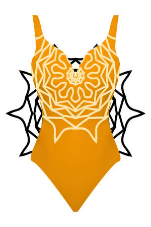 Design swimsuit with mandala ornament. Fashion vector illustration in orange color.