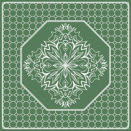 Square composition in geometric Lace Pattern. Floral Mandala Background for Scarf Print, Fabric, Covers, Scrapbooking, Bandana, Pareo, Shawl, Carpet design. Vector Illustration, green color.
