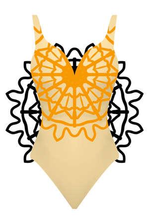Design swimsuit with mandala ornament. Fashion vector illustration. Orange color.
