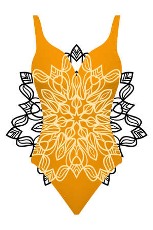 A design swimsuit with mandala ornament fashion vector illustration orange color