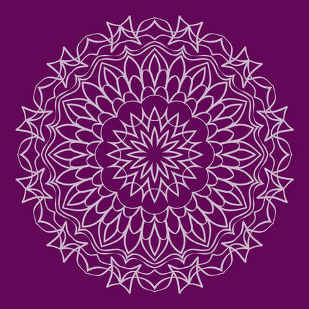 Background with mandala ornament. vector illustration. purple color.