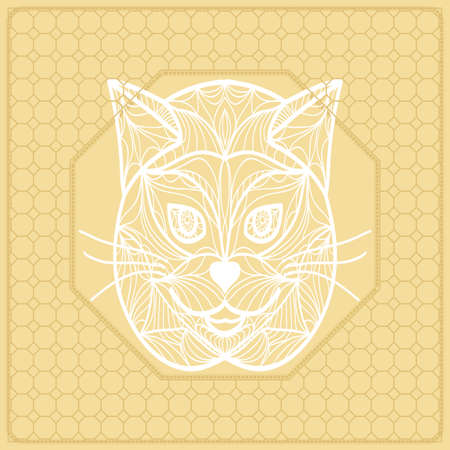 Template Print for Fabric. Pattern of cat face with Border. Vector illustration. Golden color. For Print Bandana, Nashnoy Shawl, Carpet