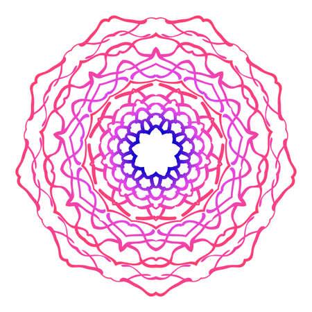 Floral mandala creative anti-stress ornament vector illustration in blue and purple color.