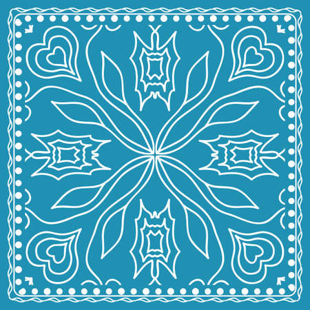 Design of the silk shawl print with geometric flower pattern vector illustration. Color blue for print of bandana, shawl and carpet.