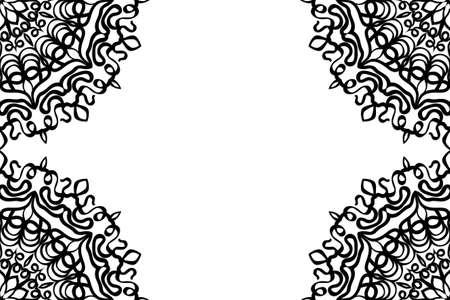 creative invitation card with mandala elements border. black and white color. Illustration