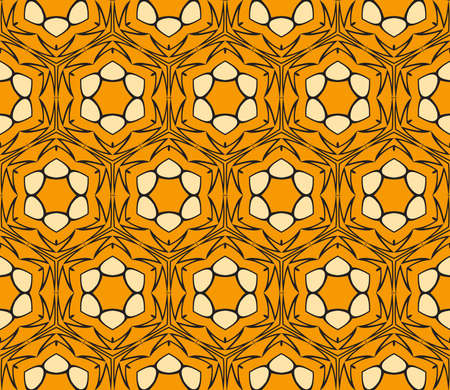 seamless flower lace pattern. abstract vector illustration. orange color.