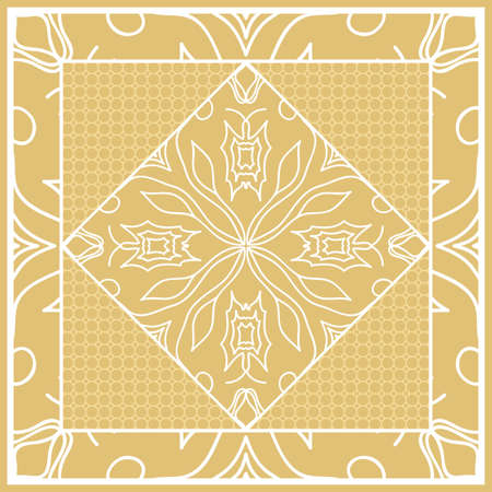 Template print for Sofa Square Pillow. Floral Geometric Pattern with hand-drawing Mandala. Vector illustration. For fabric, textile, bandana, scarg, carpet print. gOLD color