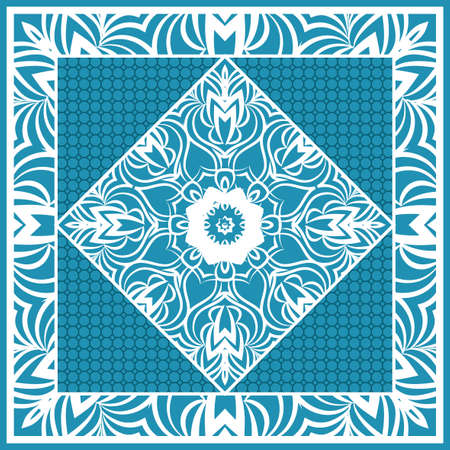 Design print for Pillow. Vector Illustration. Pattern with Geometric Lace Floral Ornament. For fabric, textile, bandana, scarg, carpet print. Blue color