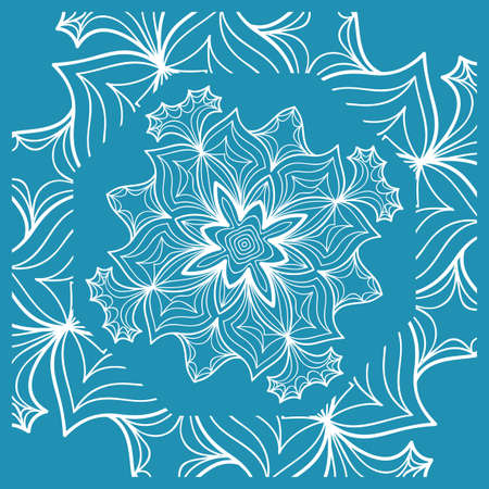 Floral paisley medallion ornamental rug ethnic mandala frame. Fabric, greeting card, coloring book, phone case print vector illustration blue color.
