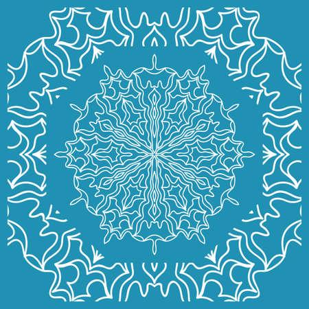 Floral Paisley Medallion Ornamental Rug. Ethnic Mandala Frame.