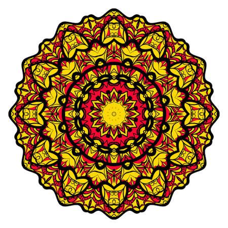 Sun color flower mandala. Energy symbol. vector illustration. for greeting card, invitation, tattoo, spa, yoga symbol. Illustration