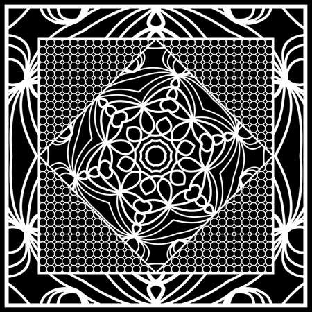 Square composition in geometric Lace Pattern. Floral Mandala Background for Scarf Print, Fabric, Covers, Scrapbooking, Bandanna, Pareo, Shawl, Carpet design. Vector Illustration Vectores